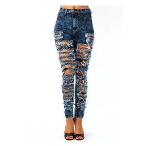 Slashed and Bleached Vintage Mom Jeans
